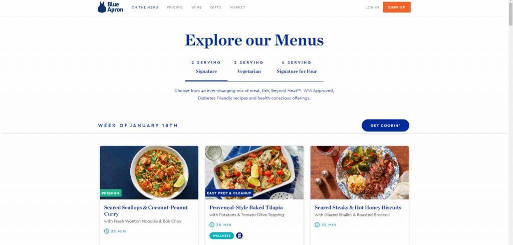 Le site de Blue Apron